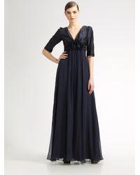 Teri Jon | Blue Empire Silk Chiffon Gown | Lyst