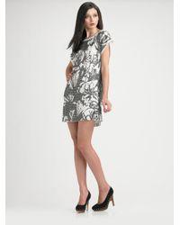 Tibi Gray Silk Shift Dress