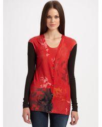 TSE Red Impressionist Floral Cardigan