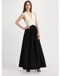BCBGMAXAZRIA Black Long Jersey Taffeta Gown
