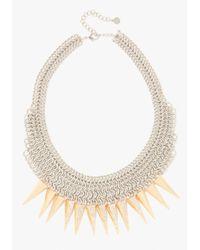 Bebe | Metallic Mesh Spike Statement Necklace | Lyst