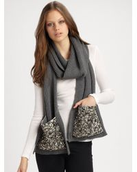 Burberry | Gray Jewel Embellished Knit Scarf | Lyst