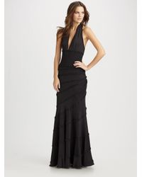 Catherine Malandrino Black Pleated Ruffle Halter Dress