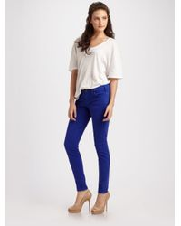 Current/Elliott Blue The Low Rise Cropped Skinny Jeans