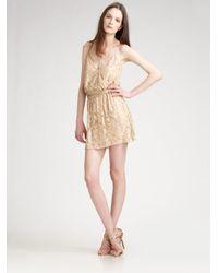 Halston Natural Beaded Slip Dress