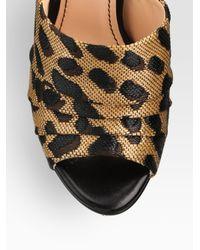 Jerome C. Rousseau - Multicolor Leopardprint Straw Leather Platform Sandals - Lyst