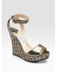 Jimmy Choo | Metallic Ankle-wrap Wedge Sandals | Lyst