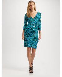 Laundry by Shelli Segal Blue Printed Matte Jersey Cascade Dress