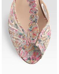 Max Kibardin Pink Glittery Lace Dragonfly Sandals