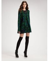 Proenza Schouler Green Graphic Silk Babydoll Dress