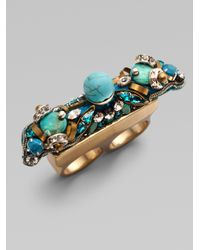 Ranjana Khan Blue Lagoon Turquoise Double Ring
