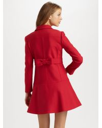 RED Valentino Red Cottonwool Bow Coat