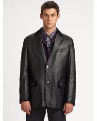 Robert Graham Black Frick Leather Blazer for men