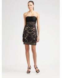 Sue Wong Black Strapless Embroidered Cocktail Dress