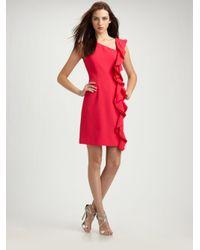 Teri Jon Red Ruffle Trim Crepe Dress