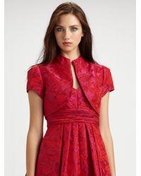 THEIA Red Jacquard Bolero Jacket