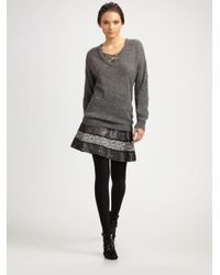 Tory Burch Gray Sequined Knit Sweater