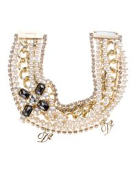 DSquared² | White Embellished Pearl Logo Necklace | Lyst