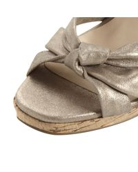 Dune Metallic Garrison Knot Front Leather Strap Sandal