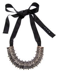 Marni | Black Moonstone Embellished Ribbon Tie Necklace | Lyst