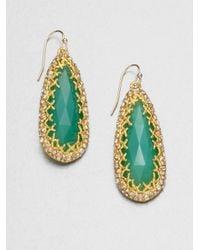 Alexis Bittar   Green Swarovski Crystal Accented Chrysoprase Teardrop Earrings   Lyst