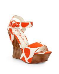 Alice + Olivia Orange Joyce Printed Canvas Wedge Sandals
