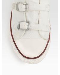 Ash White Virgin Canvas Buckleup High Top Sneakers