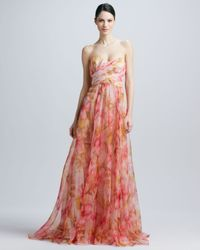 Badgley Mischka Multicolor Strapless Floralprint Gown