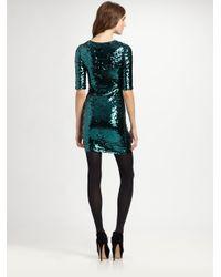 BCBGMAXAZRIA Green Marta Threequarter Sleeve Sequin Dress