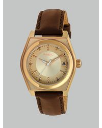 Breil Rose Goldtone Ionplated Brown Leather Strap Watch