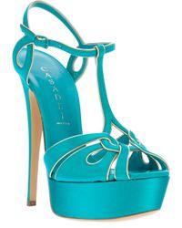 Casadei Blue Platform Sandal