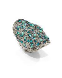 Clara Kasavina   Blue Fiona Textured Knuckle Ring   Lyst