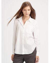 DKNY White Stretch Cotton Blouse