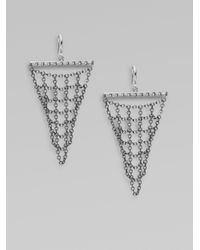 Elizabeth and James - Metallic Sterling Silver Short Mesh Drop Earrings - Lyst