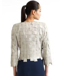 Giorgio Armani Gray Handwoven Silk Ribbon Jacket