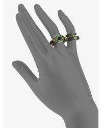 John Hardy | Green Semiprecious Multistone 18k Gold Cobra Twofinger Ringblack Spinel | Lyst