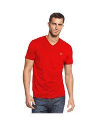 Lacoste Red Short Sleeve Pima V Neck T Shirt for men