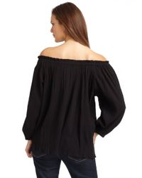 Love Sam Black Micropleated Offtheshoulder Blouse