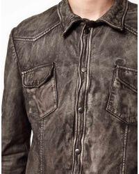 Muubaa Gray Muubaa Leather Jacket Shirt for men