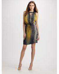 Piazza Sempione Multicolor Pleated Split Neck Drawstring Dress