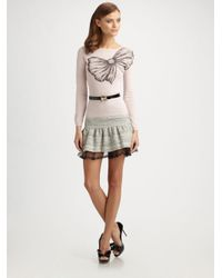 RED Valentino Pink Print Bow Sweater