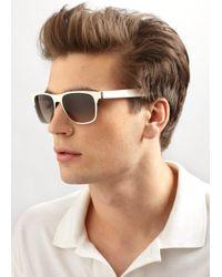 Saint Laurent - Black Metal Rectangular Sunglasses for Men - Lyst