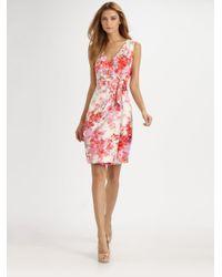 St. John Multicolor Floral Silk Wrap Dress