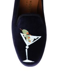 Stubbs & Wootton Black Octopus Embroidered Wool Dress Slippers