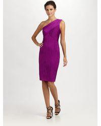 Tadashi Shoji Purple Oneshoulder Pintucked Jersey Dress