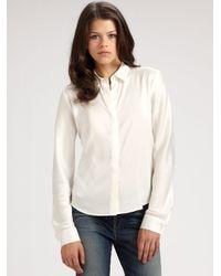 Theory White Silk Shirt