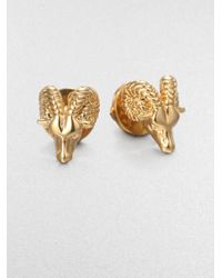 Tory Burch | Metallic 16k Gold Plated Ram Head Stud Earrings | Lyst