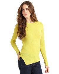 Vkoo Yellow Cashmere Asymmetrical Hem Pullover