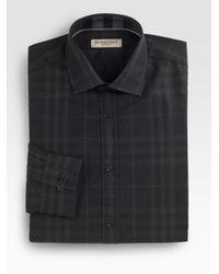 Burberry Gray Santon Check Dress Shirt for men