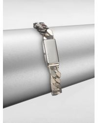 Gucci Metallic Sterling Silver Stripes Bracelet for men
